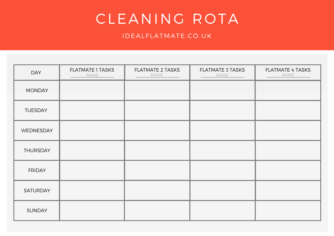 The Ultimate Cleaning Rota Template   Flatmate HQ